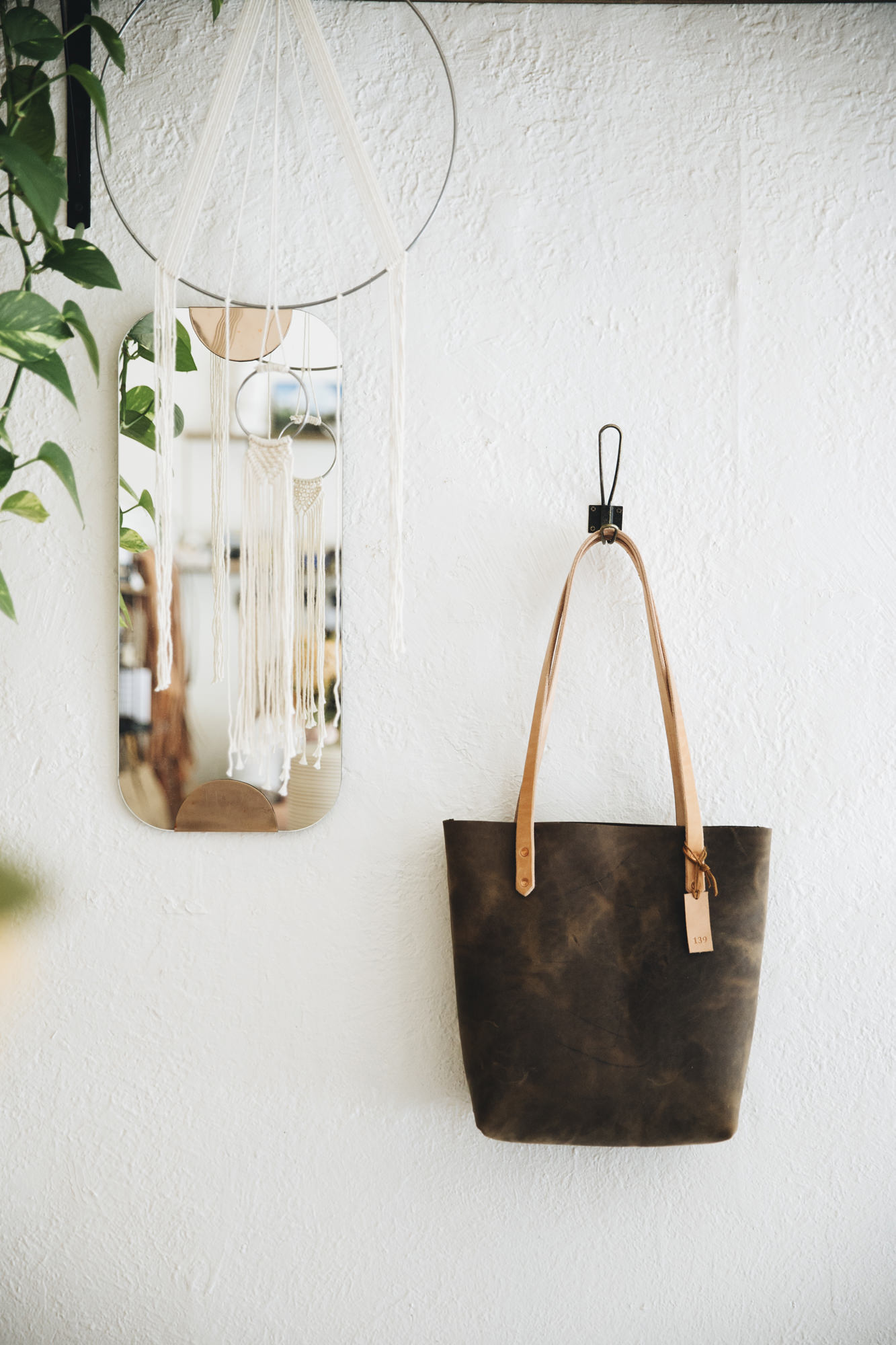 Barbered Leather Tote Bag