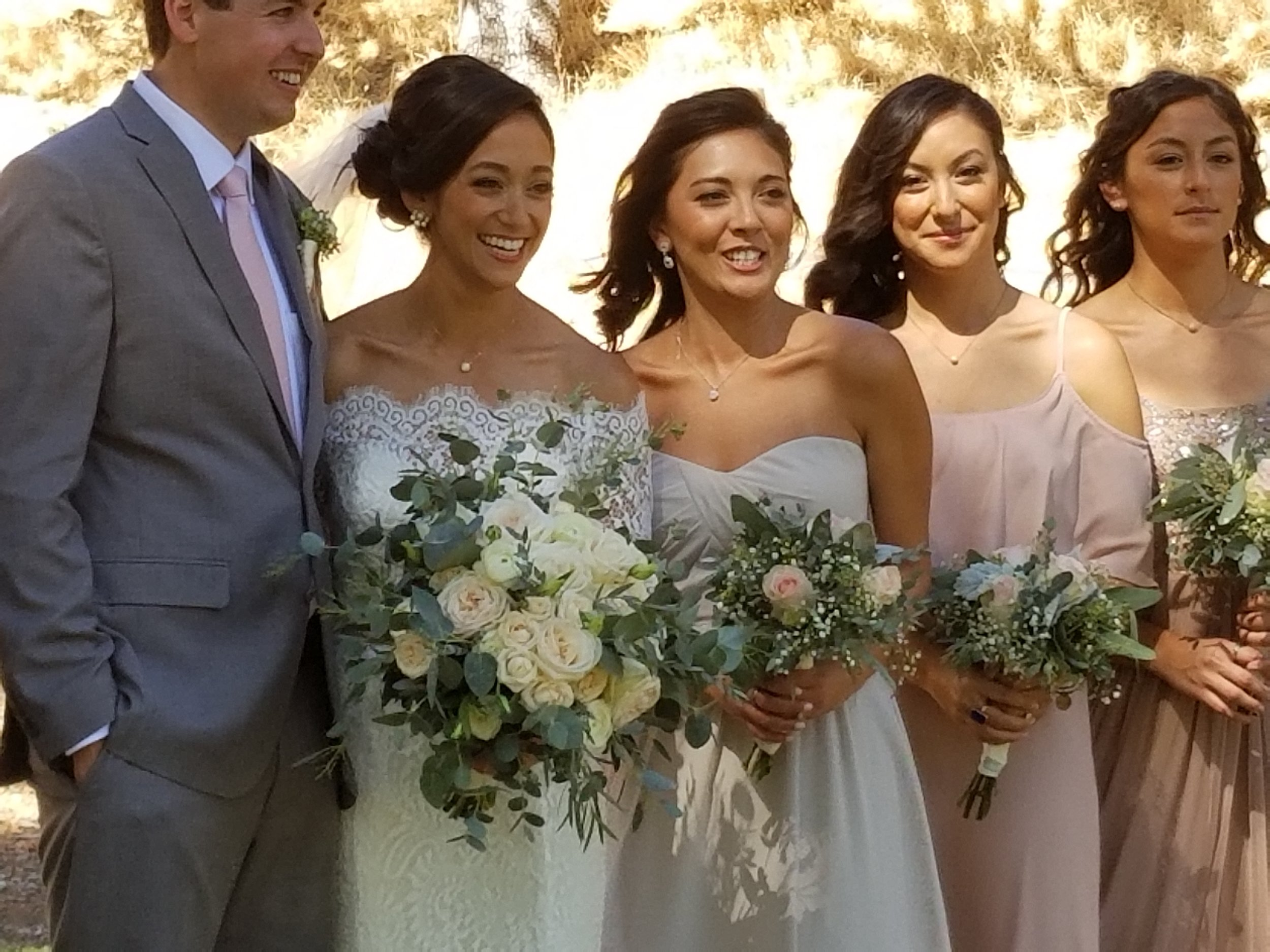 2017-09-23 Bridal party leafy bouquets pink and white.jpg