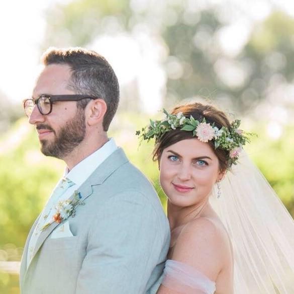 Bridal flower crown with greens and blush pink flowers. Boho Chic