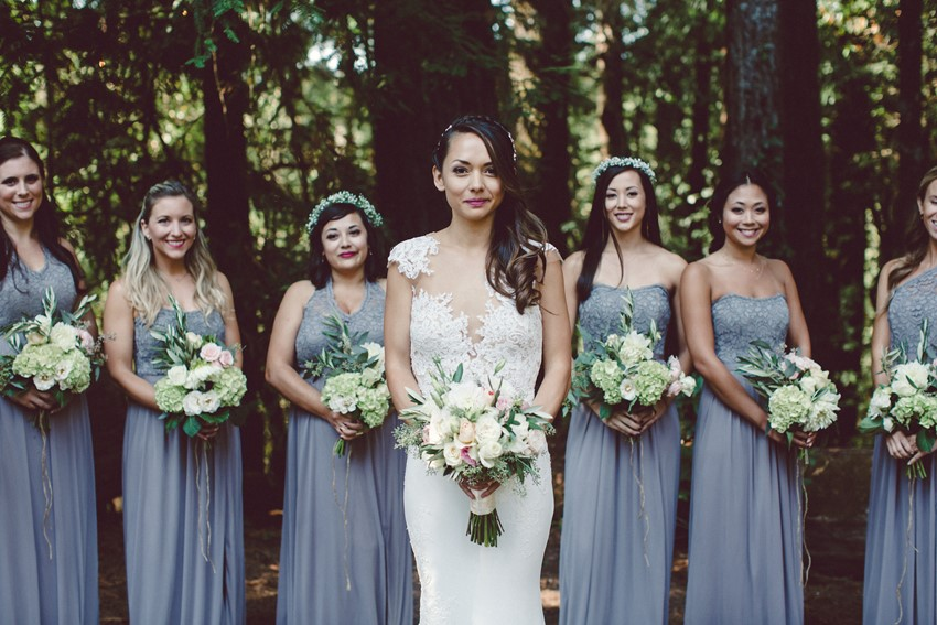 Bridal party bouquets eucalyptus greens with garden roses and hydrangea