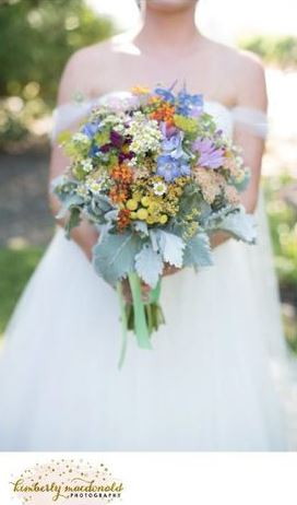 Featuring local Sonoma wild flowers, hand gathered and tied with ribbon. Wildflower bridal bouquet Sonoma