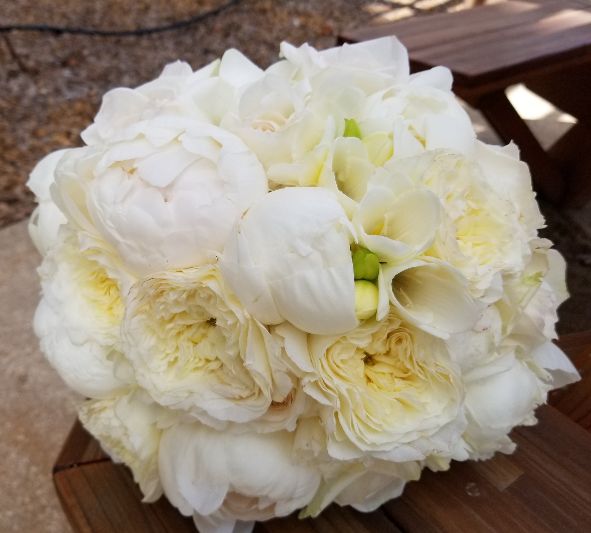 Pure white bridal bouquet featuring peonies and freesia.