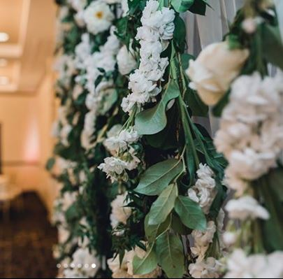 Flower Wall backdrop, hanging vines and pure white flowers