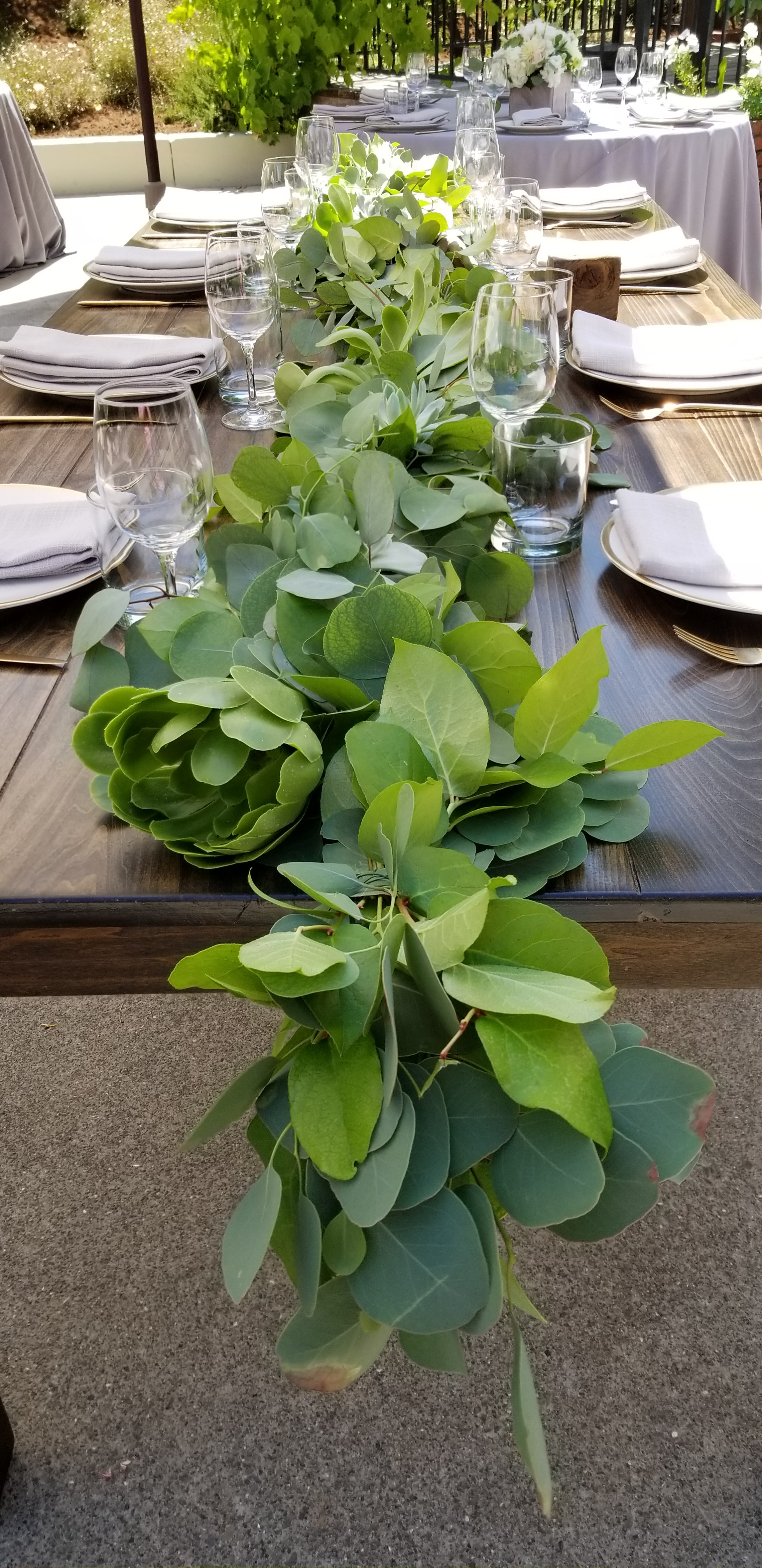 Garland for farm table, eucalyptus, lush greens and succulents!