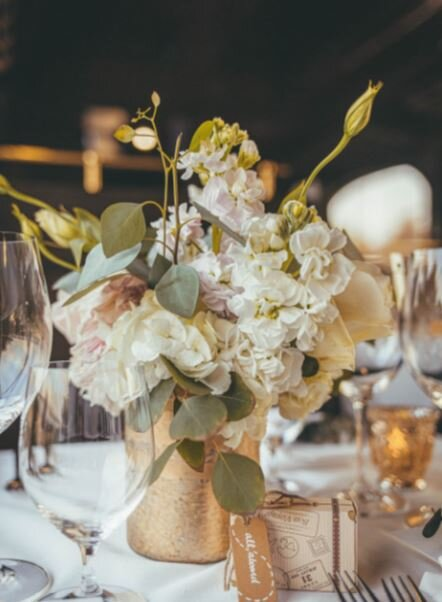 Centerpiece Napa Wine Train dinner, Gold vase, white and blush flowers