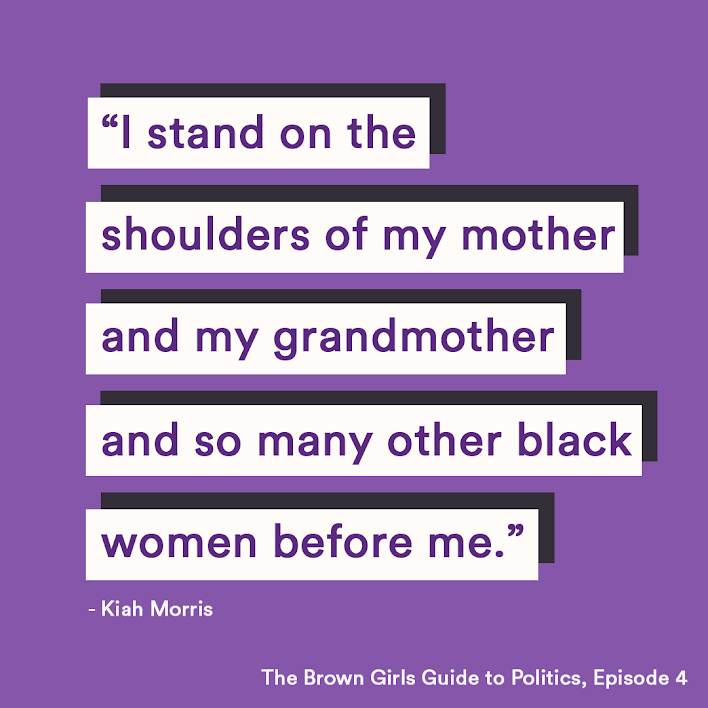 """Quotation block that reads """"I stand on the shoulders of my mother and and my grandmother and so many other black women before me."""""""