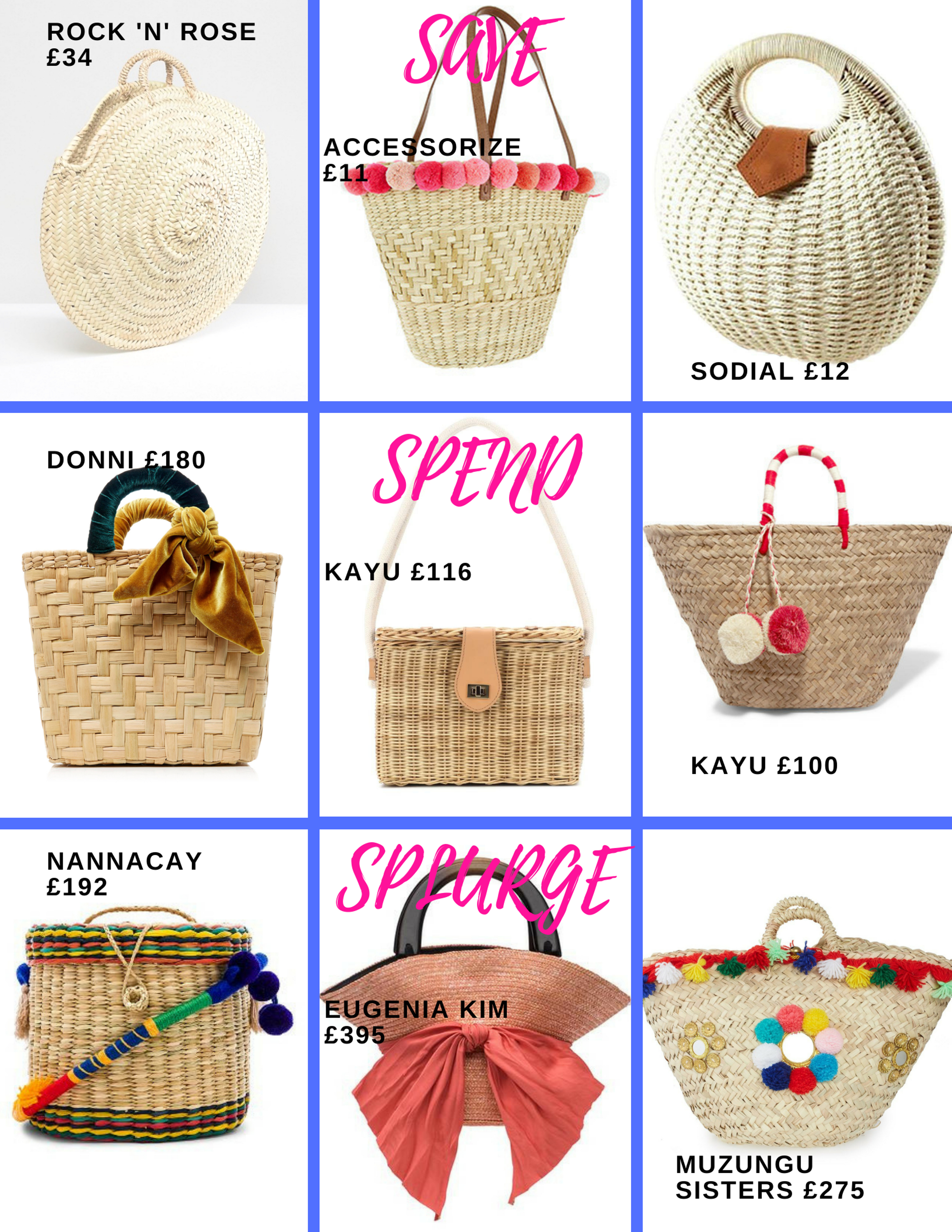 Selection of basket bags available for every budget