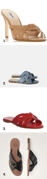 1 / Tan,  DUNE . 2 / Blue,  ZARA . 3 / Red,  OFFICE.  4 / Black,  MASSIMO DUTTI