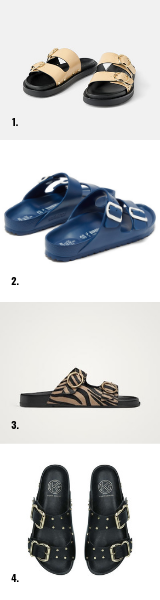 1 / Cream,  ZARA.   2 / Blue,  BIRKENSTOCK x IL DOLCE FAR NEITE.   3 / Animal,  MASSIMO DUTTI   4 / Black,  KG KURT GEIGER