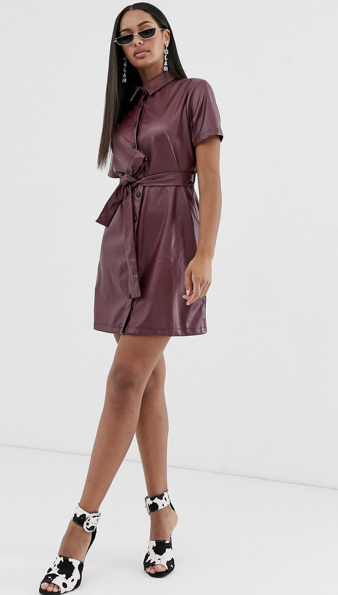 LEATHER LOOK SHIRT DRESS