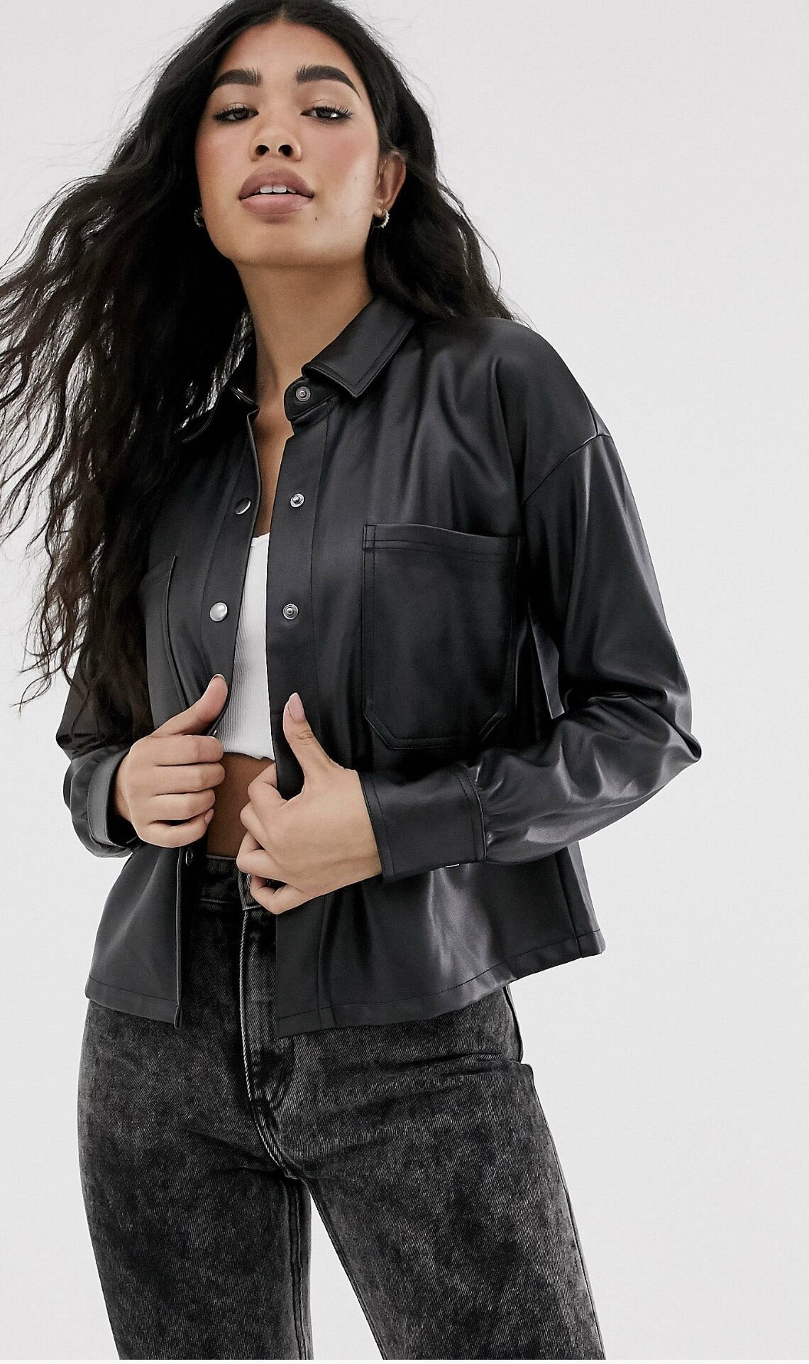 LEATHER LOOK OVERSHIRT