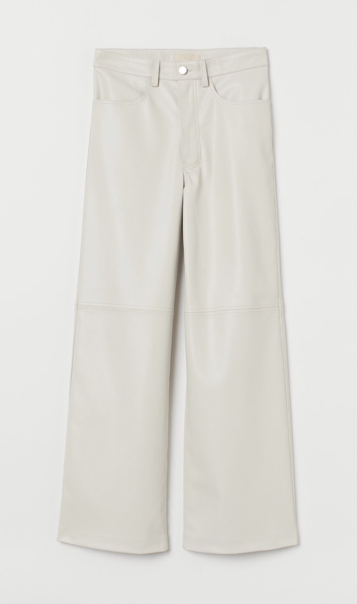 CREAM IMITATION LEATHER TROUSERS