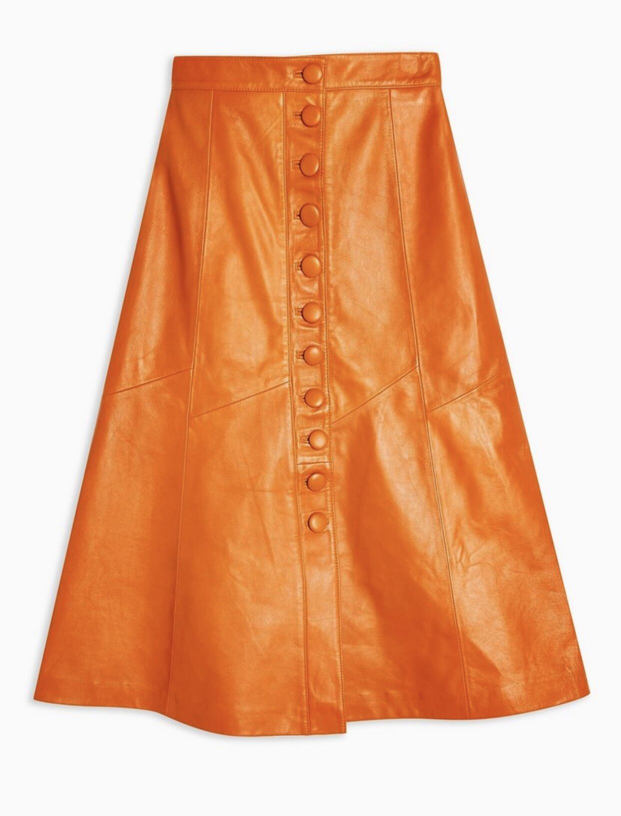 LEATHER BUTTON MIDI SKIRT