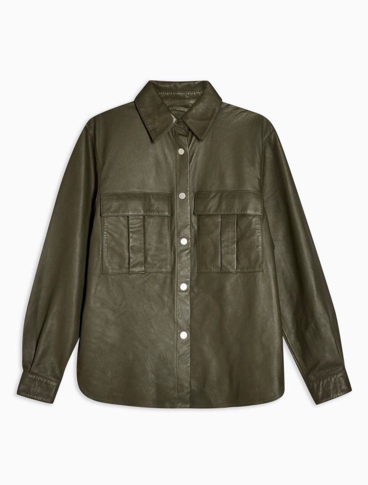KHAKI LEATHER SHIRT