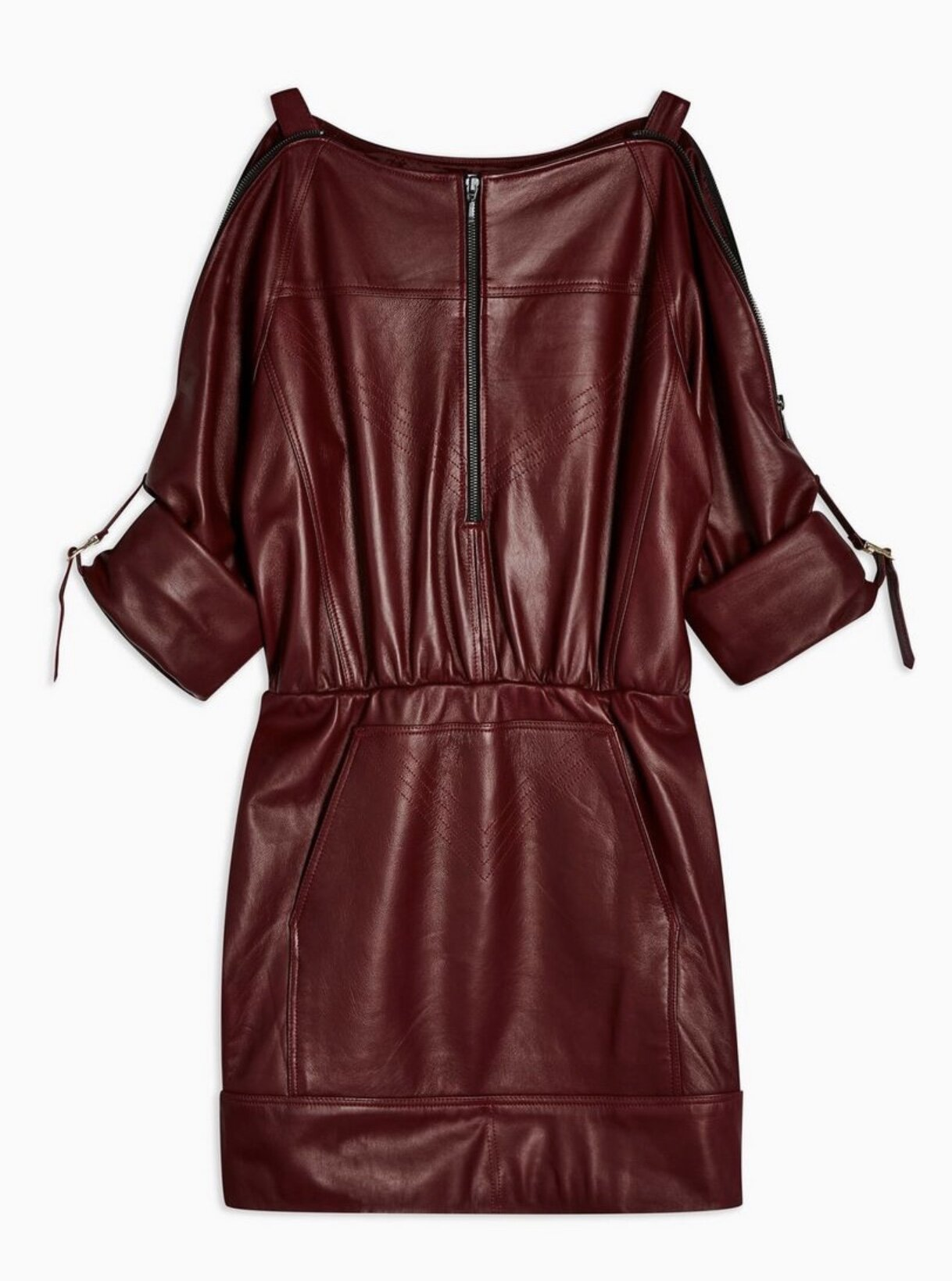 LEATHER ZIP THROUGH SHIRT DRESS
