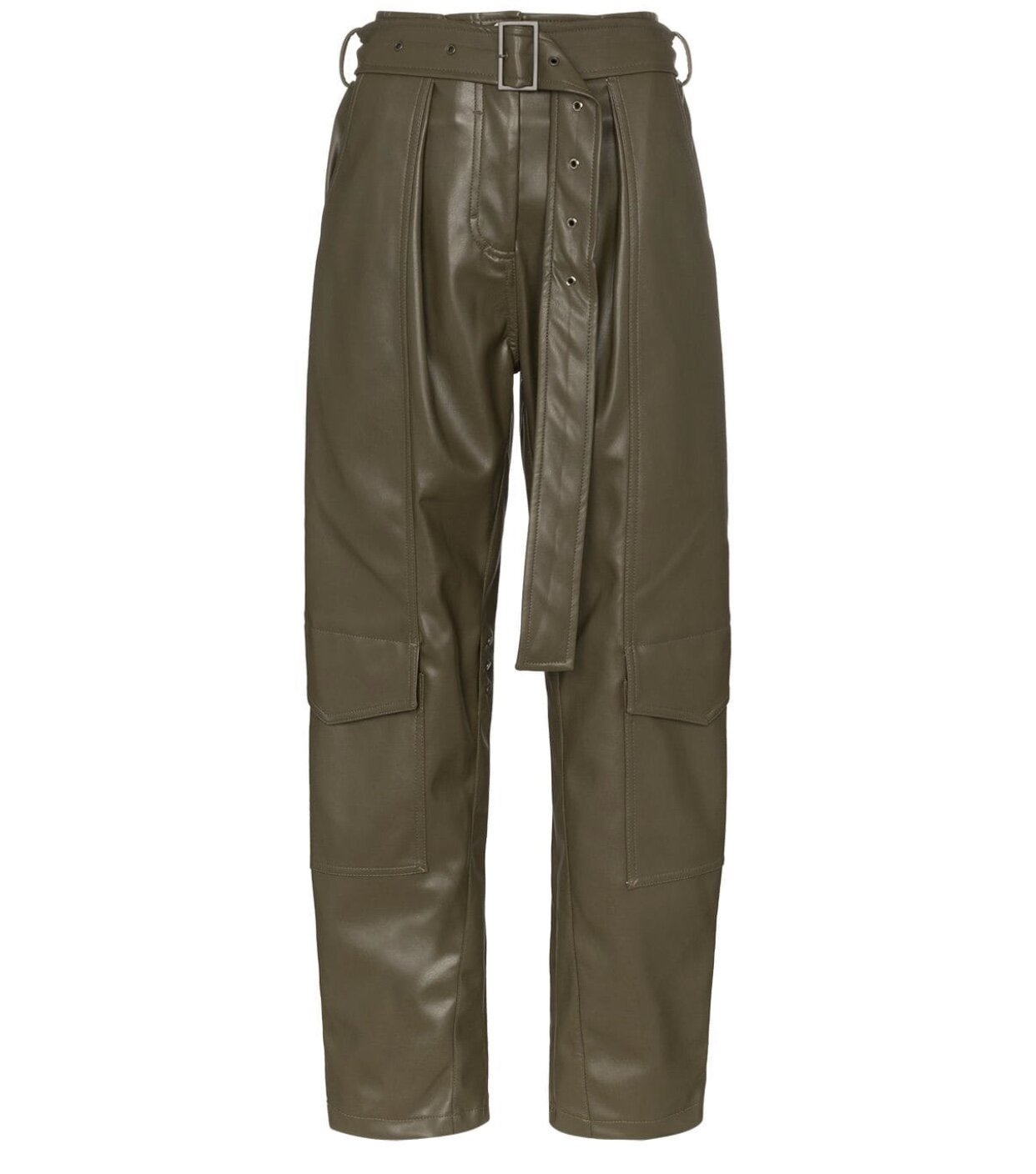 LOW CLASSIC - FAUX LEATHER CARGO TROUSERS