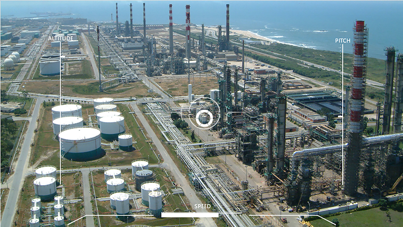 Teleoperator's view inspecting a gas facility