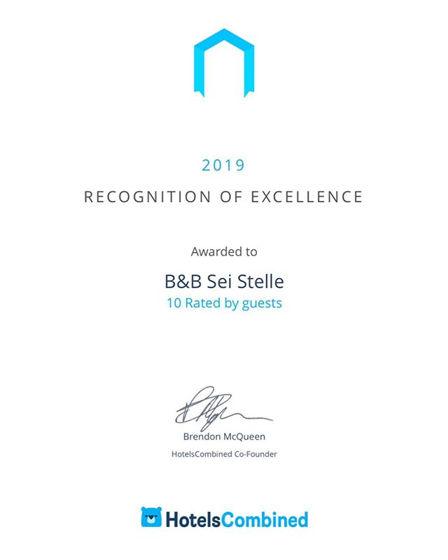 It is a pleasure to know that we are considered one of the best hotels in Italy.  B&B Sei Stelle boasts a high satisfaction rating among guests and travel industry experts, receiving 485 reviews for an impressive rating of 10 out of 10. #seistellemood #bbseistelle #sulmona #abruzzo
