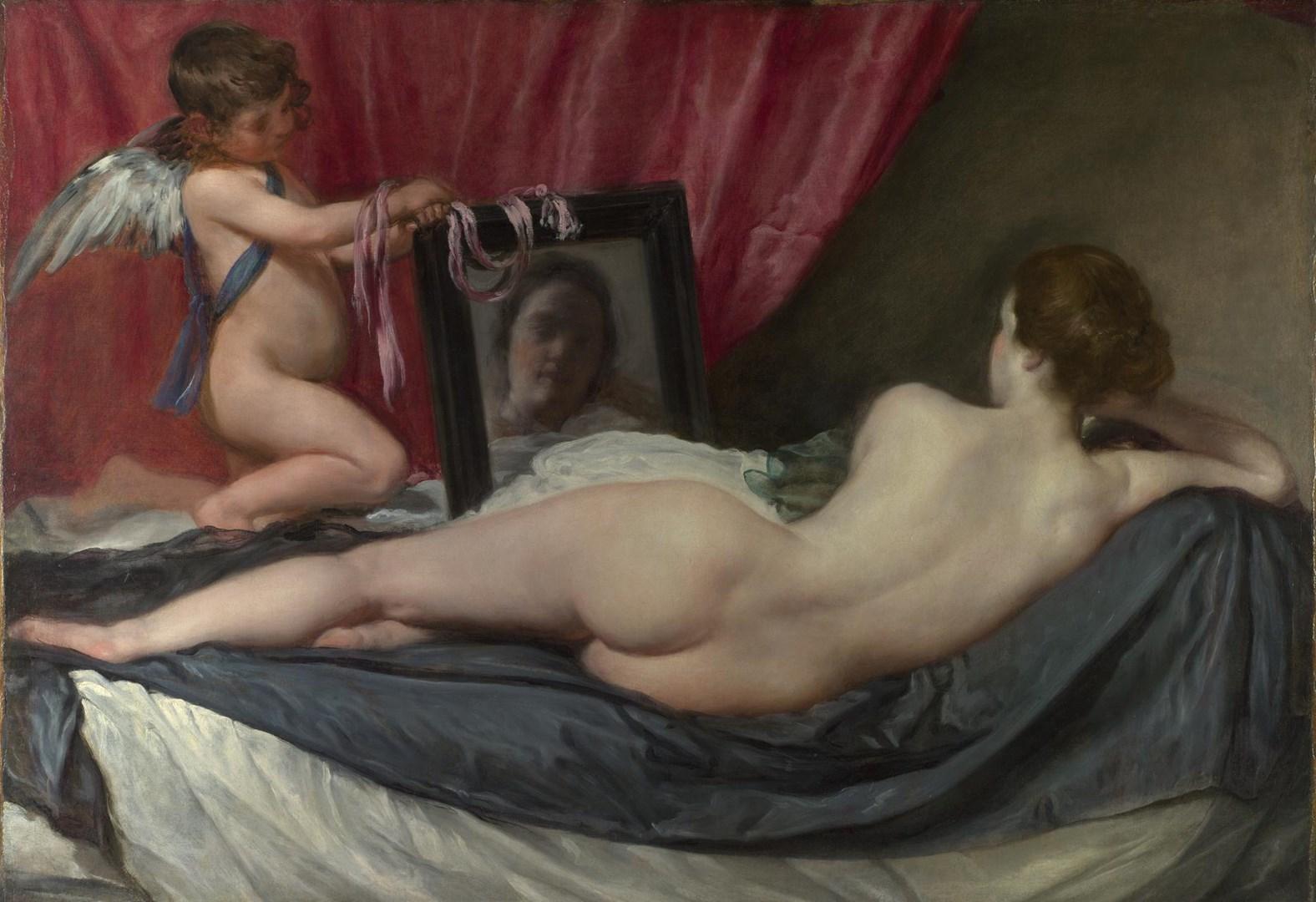 Diego Velázquez, t Rokeby Venus , c. 1647–51. 122cm x 177cm (48in x 49.7in.)   National gallery london