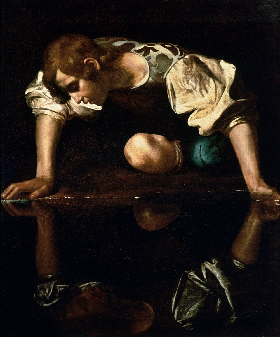 Caravaggio, narcissus, 1597–1599, Oil on canvas, 110 cm × 92 cm (43 in × 36 in), galleria nazionale d'arte antica