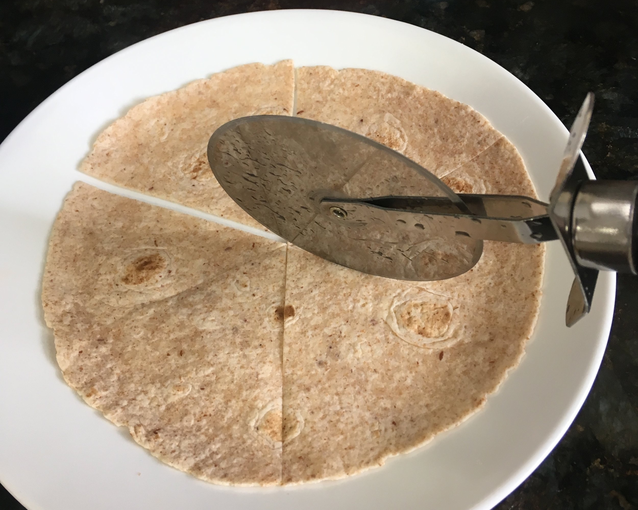 Step 3 - Cut your tortilla(s) into 6 sections.