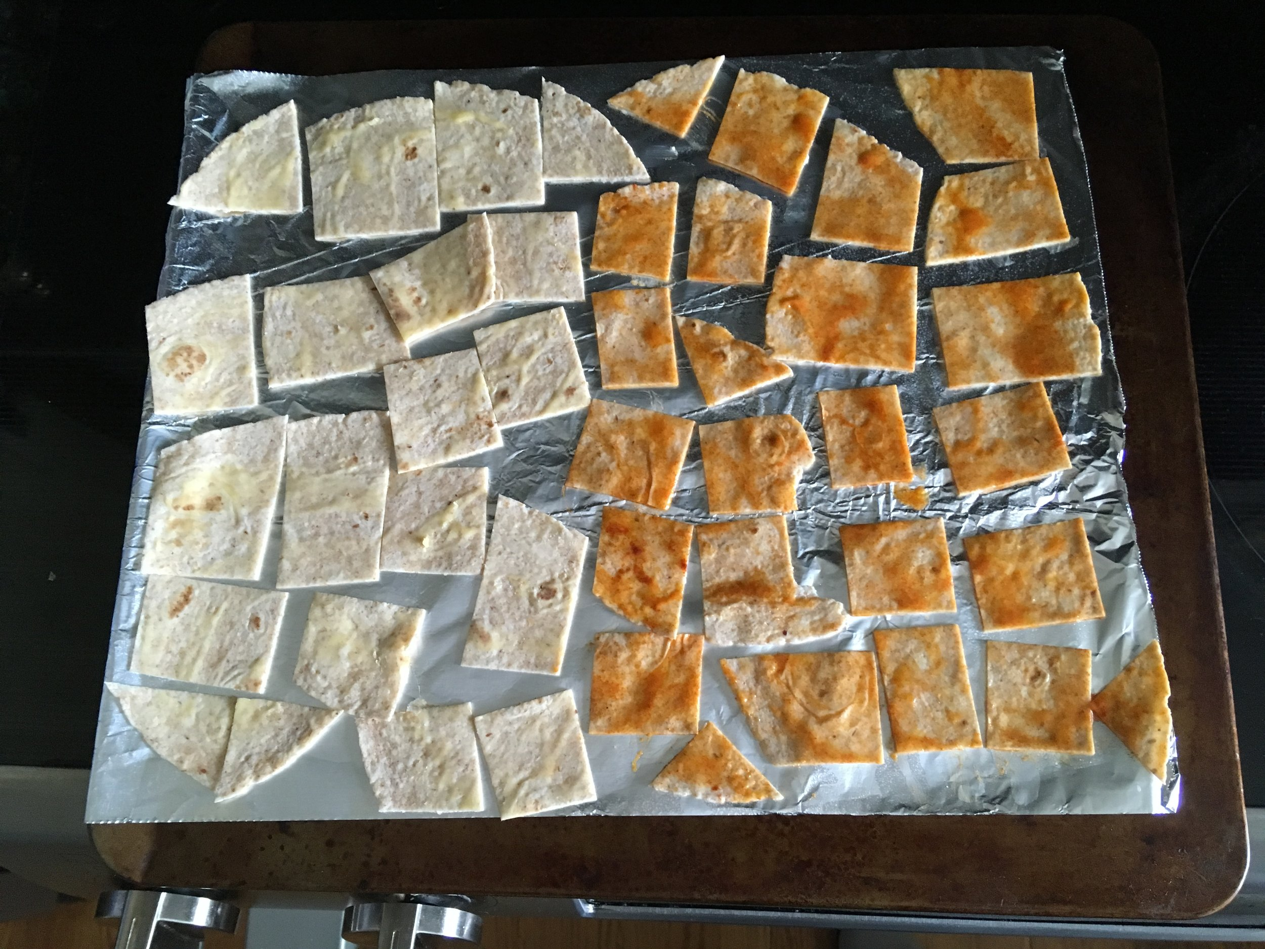 Prep - Lay the squares on the baking fail.