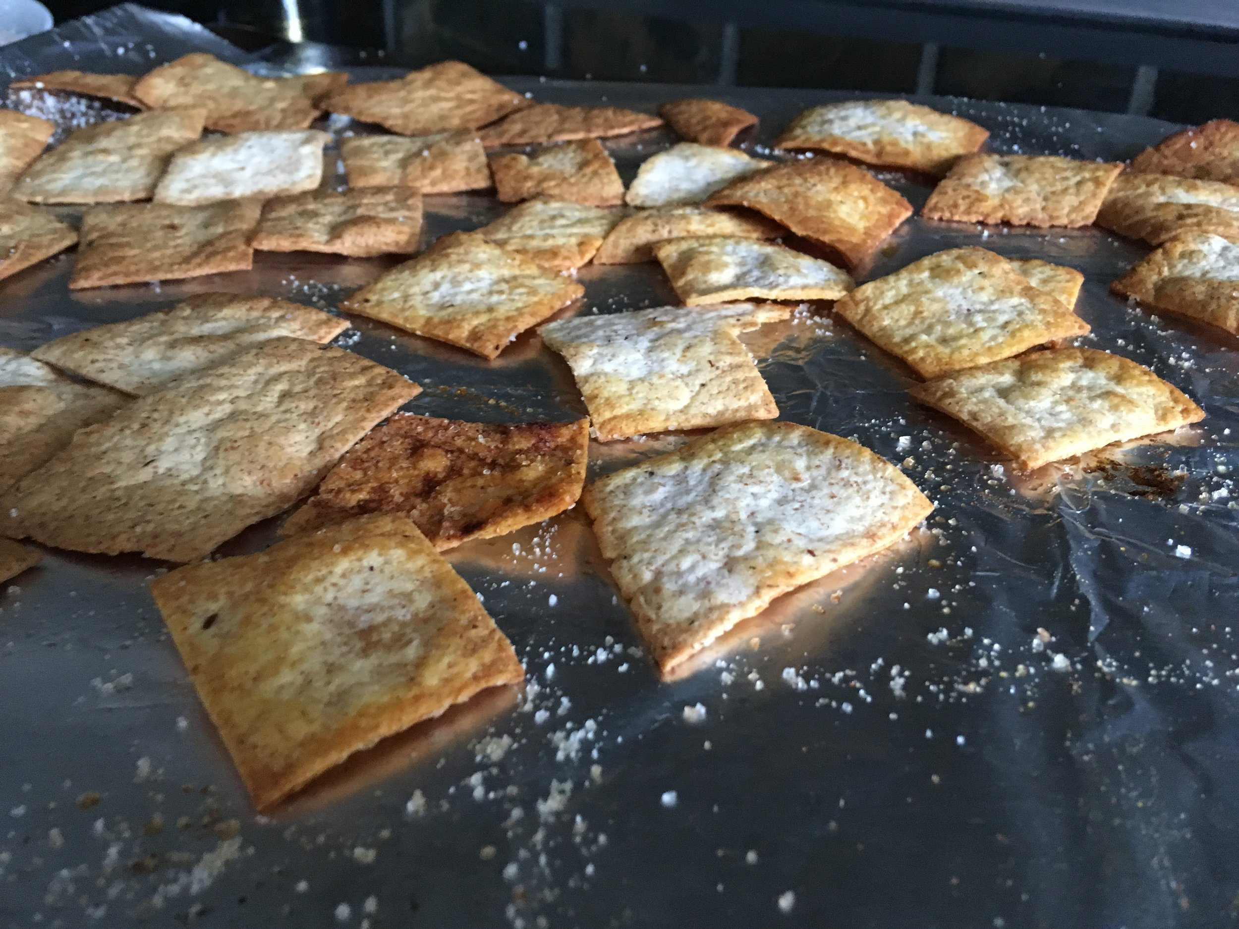 Bake - Bake at 400 degrees for 5 minutes and flip the chips. Bake for 1-2 more minutes.