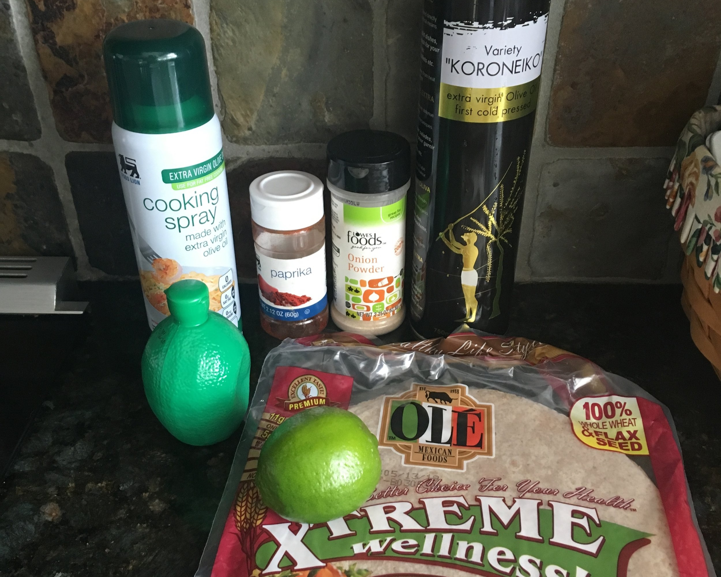 Ingredients - 1 Ole Tortilla1 TBS Olive OilCooking Spray1/4 Lime Skin ShavingsLime JuiceOnion PowderPaprikaSea Salt