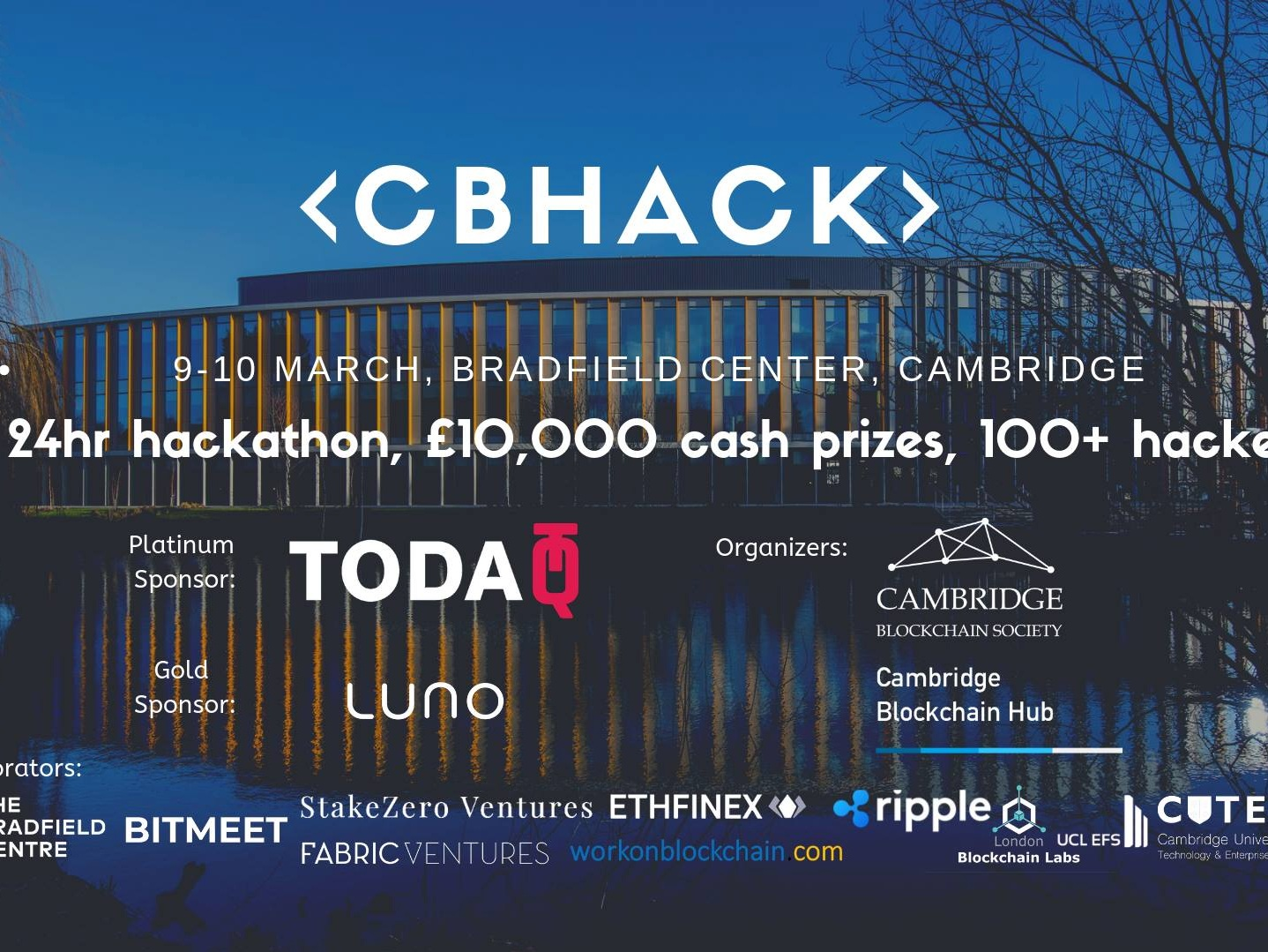 Cambridge Blockchain Hackathon - - Cambridge | 9th-10th March - We are honoured to support the Cambridge hackathon gathering over 100 technologists across UK.