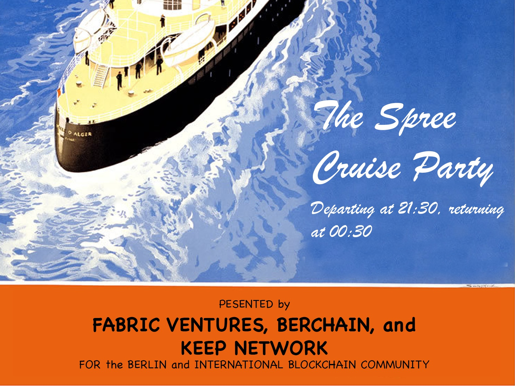 The Spree Cruise Party @ EthBerlin - - Berlin | 19th August -Right after our Interoperability Meetup, we are hosting an after-party with Keep Network & BerChain. The event is invite-only,