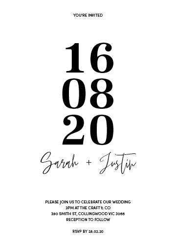 Block Dates   Bold block dates paired with white ink cursive names on your choice of 1.5mm premium woods. Minimal and contemporary, this design is flexible enough to accomodate invites that require additional text and suits almost any event styling.