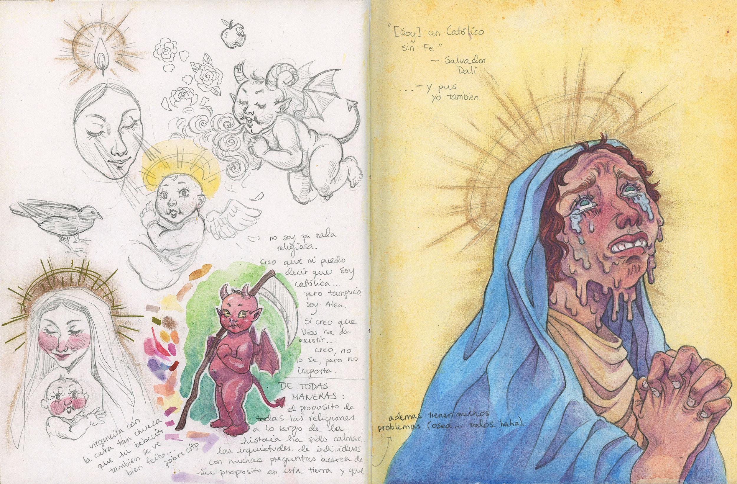 Católico Sin Fe (Sketchbook Page)  Pencil and watercolor