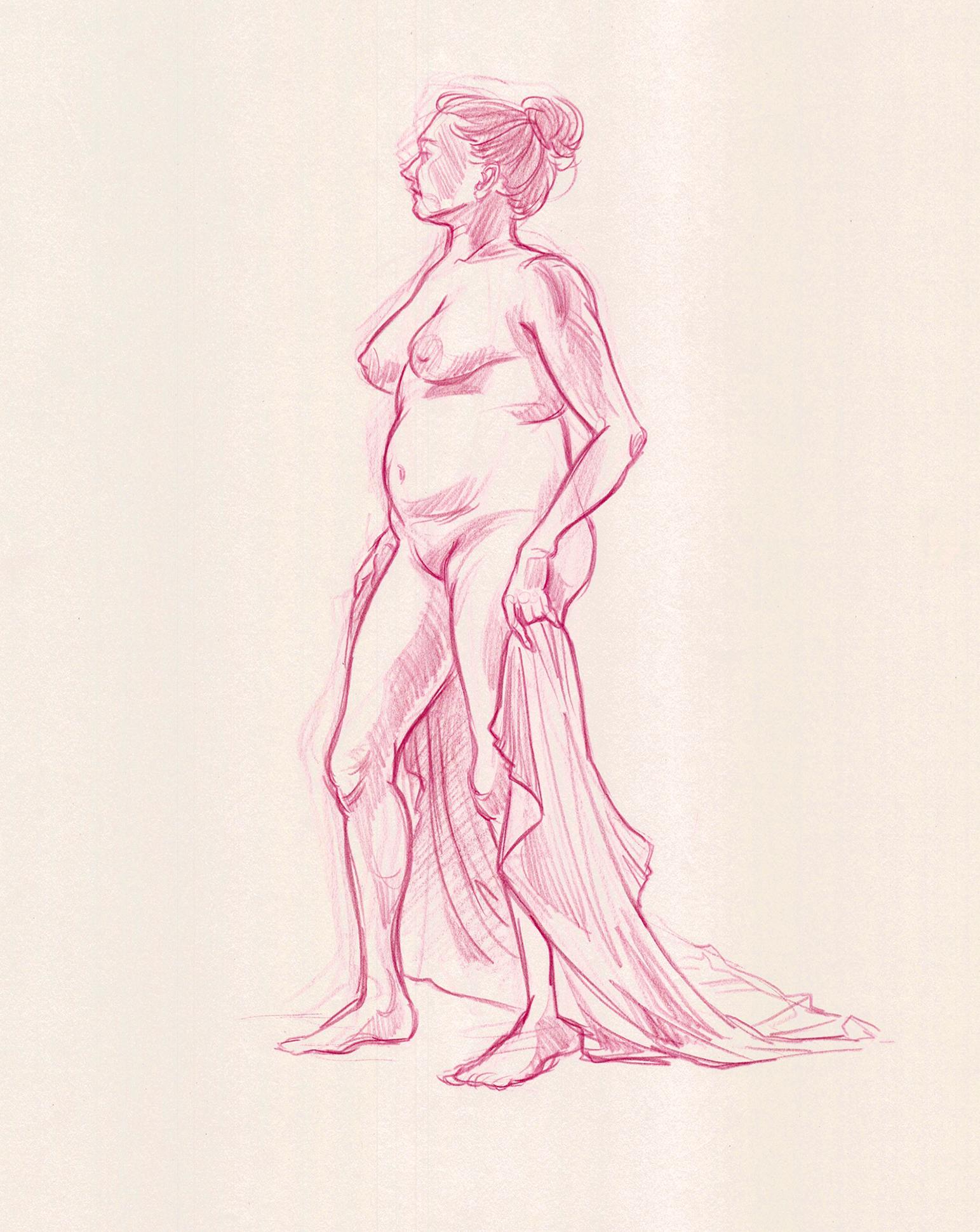 Figure Drawing  Pencil on Newsprint  18 x 24 in.