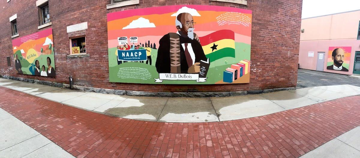Du Bois Alley, Great Barrington, MA   Youth-led Community Mural Project honoring Dr. W.E.B. Du Bois  Youth Leaders and Artists: Zufan Bazzano and Sophie Shron  Group Facilitator and Project Coordinator: Ari Wolff Cameron  Mural Specialists: Massimo Mongiardo and Brian Cartier