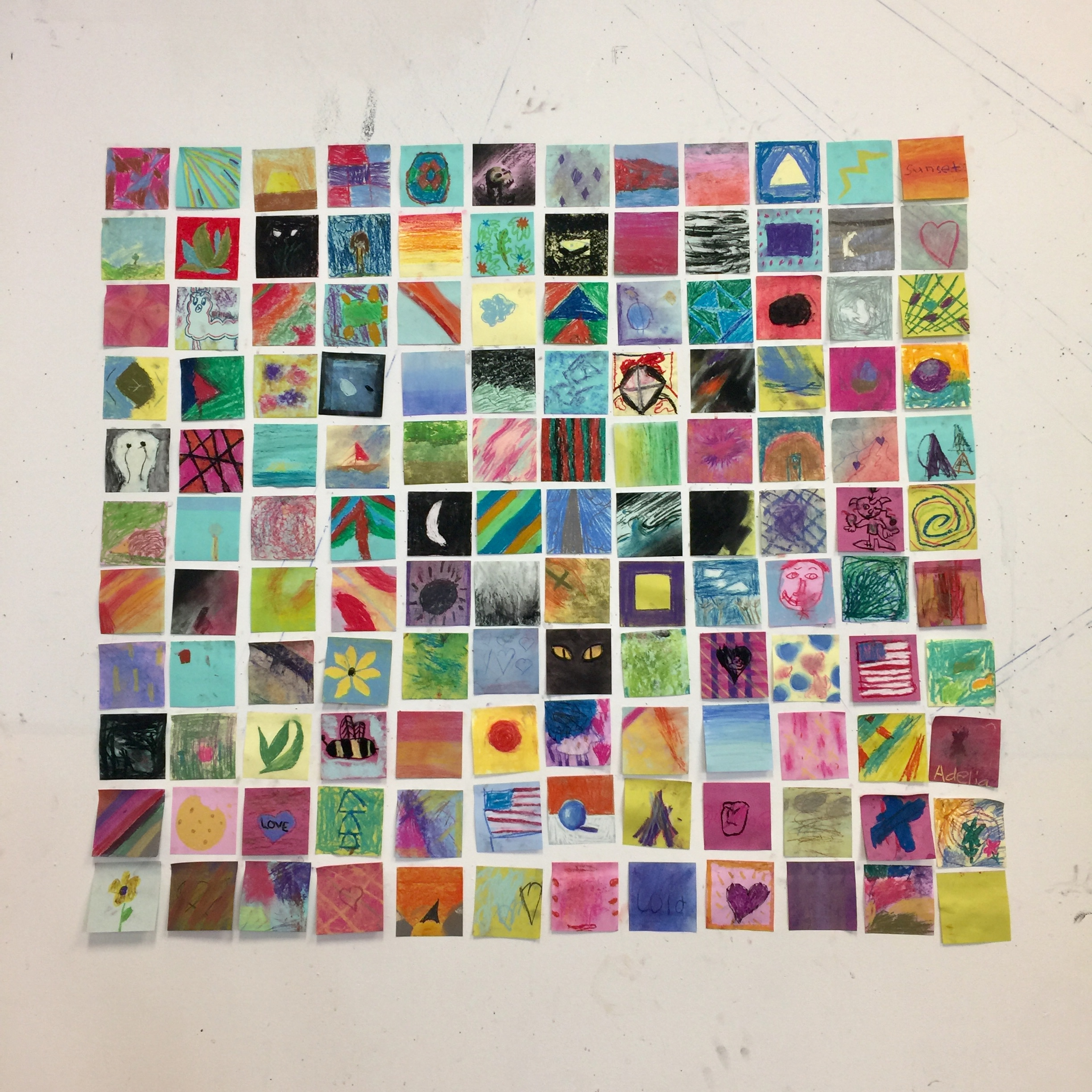 1st-6th Grade Student Work  Post-it Wall, 2019  Berkshire Country Day School
