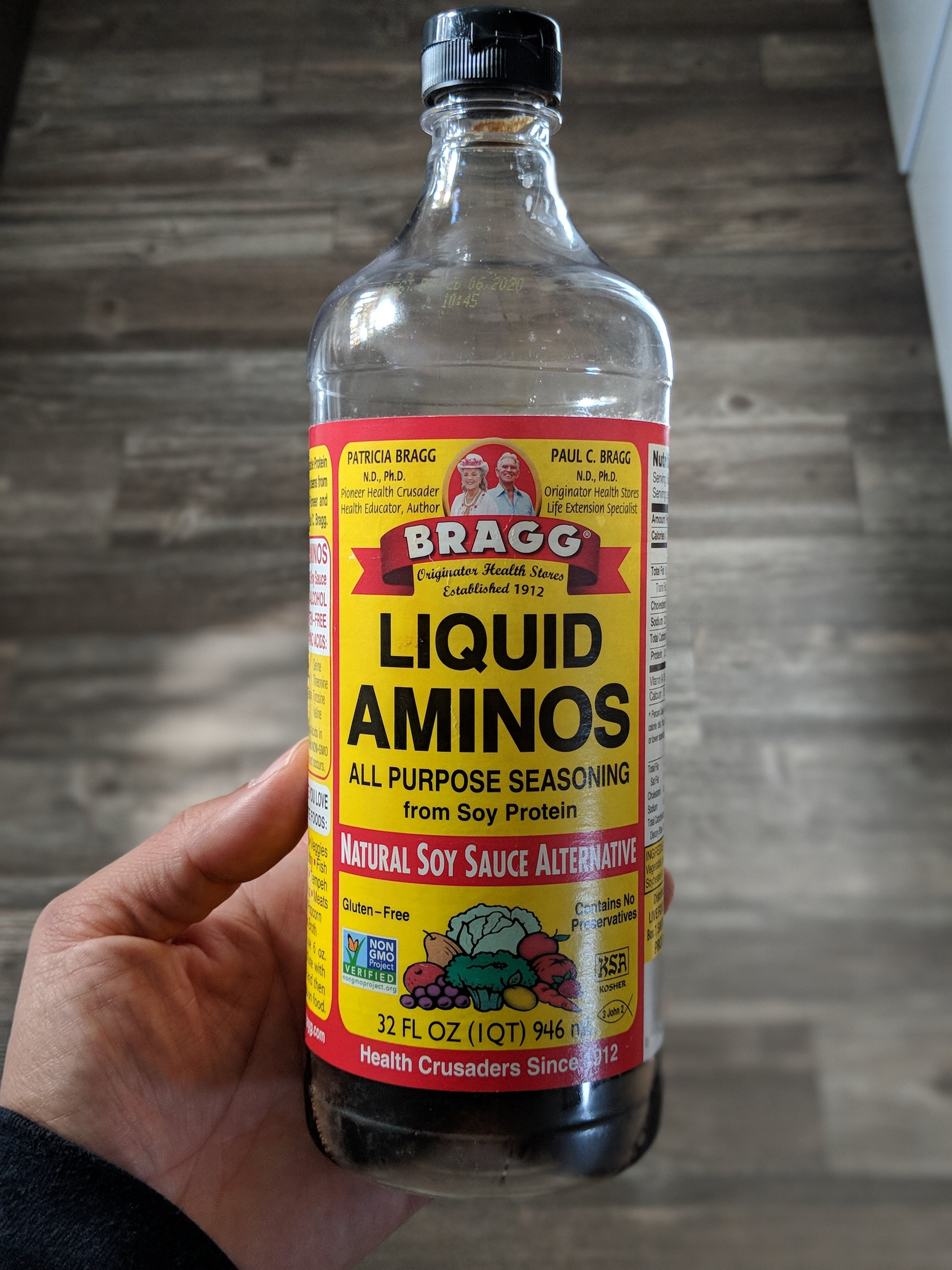 Liquid Aminos - An alternative to soy sauce. We use it because it tastes better to us, and full of amino acids.