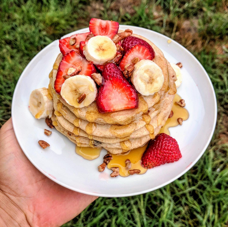 Chocolate Chip Vegan Pancakes -