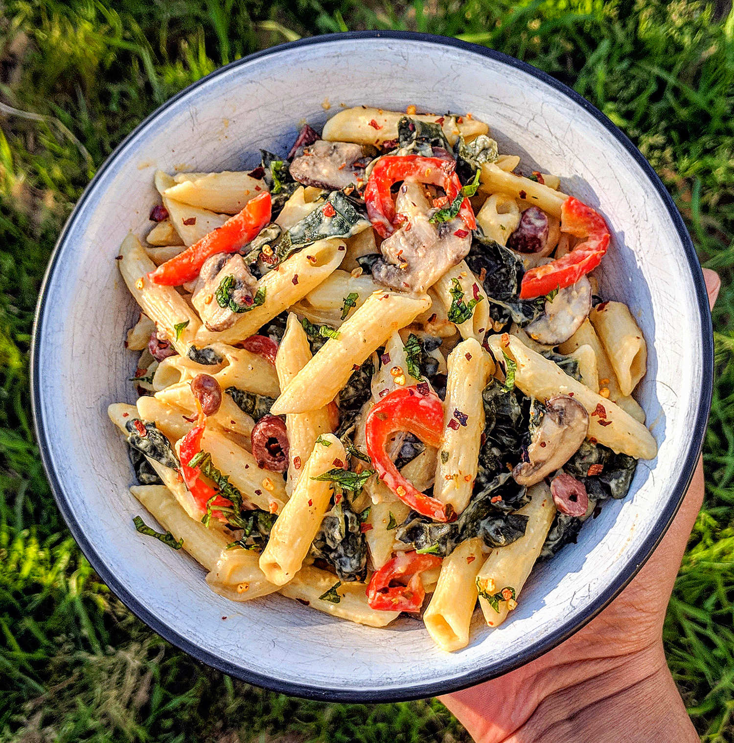 Penne with Hummus Cream Sauce -