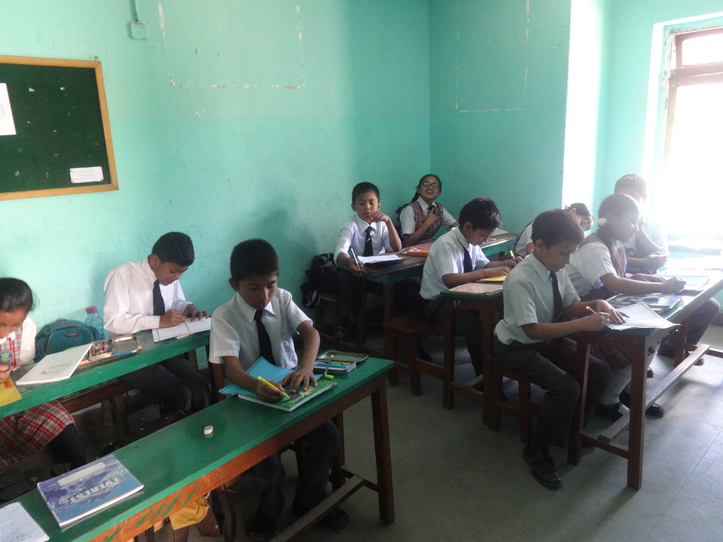 """Nepalese students working on """"I Love My Life"""" project."""