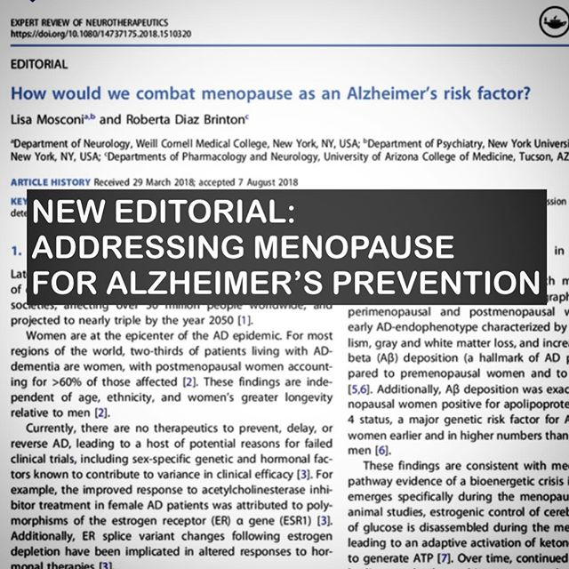 A little while ago, I was invited to write an editorial on how to address menopause as an Alzheimer's risk factor. I was impressed that a journal dedicated to therapeutics would be interested not only in women's health, but in prevention on top of that! The paper is out and open access if you want to take a look. . . With 850 million women worldwide who just entered or about to enter menopause, how do we combat menopause as a risk factor for Alzheimer's? From SERMs to diet, here are some answers — link in bio 🧠👯♀️ . . #medicine #menopause #womenshealth #alzheimers #endalz #hormones #healthylifestyle #caregiver #brainfoodbook #brainfood #neurology #brain #healthiswealth #foodismedicine #mentalhealth