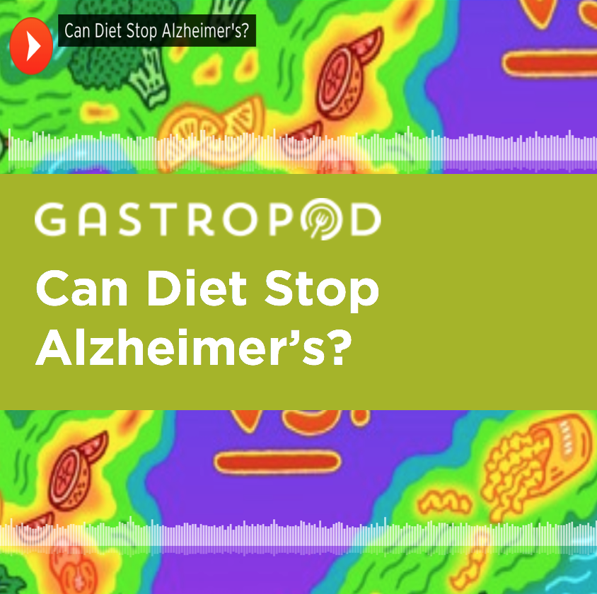 Gastropod: Can Diet Stop Alzheimer's? - Every three seconds, someone in the world develops Alzheimer's disease. It's a devastating disease: millions of people, as well as their caretakers, spend years dealing with disabling disorientation and memory loss. But, after years of failed drug trials, scientists are now realizing that the disease begins with structural changes in the brain decades before sufferers show any symptoms. And some researchers now believe that diet may be the most important factor in determining whether or not those brain changes take place. Listen in now to find out: Can changing what you eat prevent Alzheimer's?