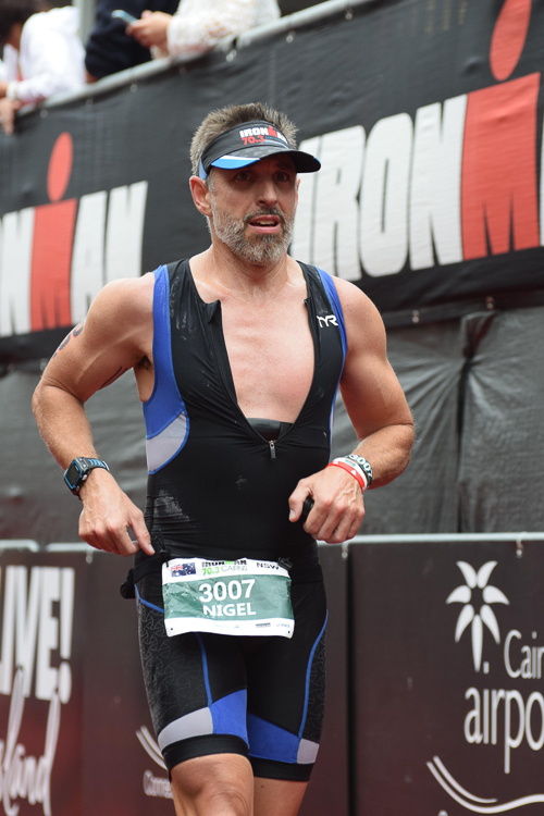 Dr Nigel Stafford competing at Ironman 70.3 Cairns