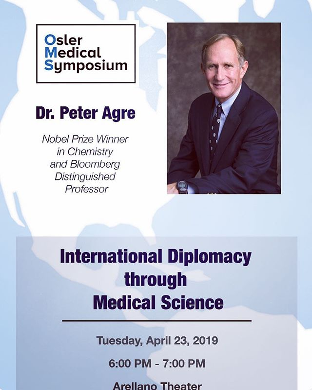 Are you ready for our last event of the semester? Come out to the Arellano Theater this Tuesday to hear from a Nobel Laureate and Bloomberg Distinguished Professor, Dr. Peter Agre (and to enjoy some Potbelly sandwiches)!