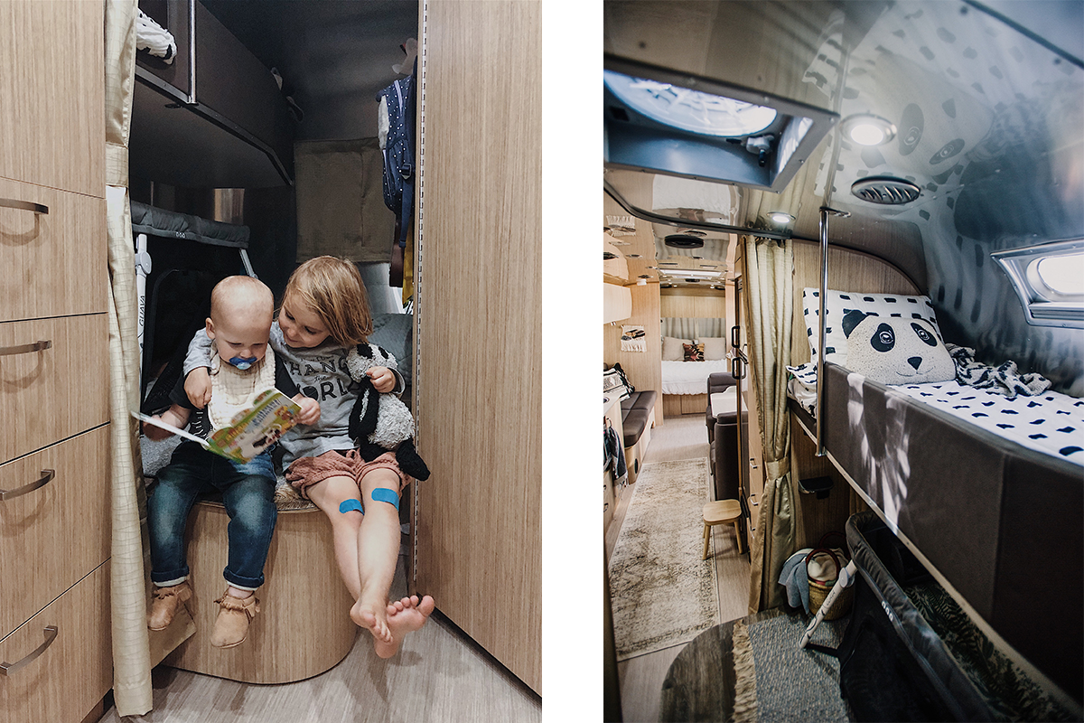 The kids' room in the Airstream. While it can be challenging to have two small children in this small space, we also love to watch them connect in new ways!