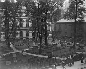 King's Chapel burial ground in Boston, 1929; Credit: Boston Public Library