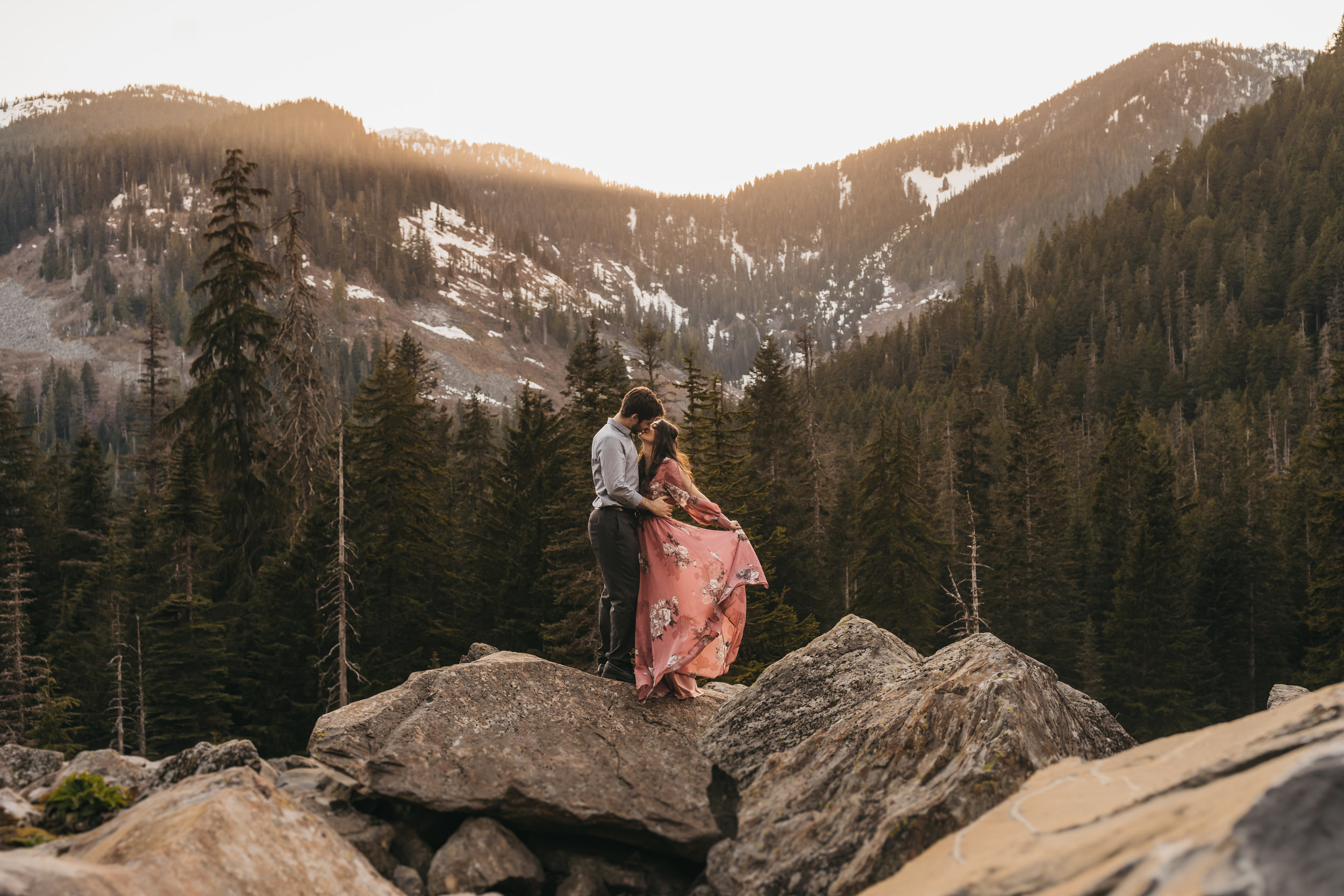Snoqualmie National Forest Engagement Session | Between the Pine Adventure Elopement Photography