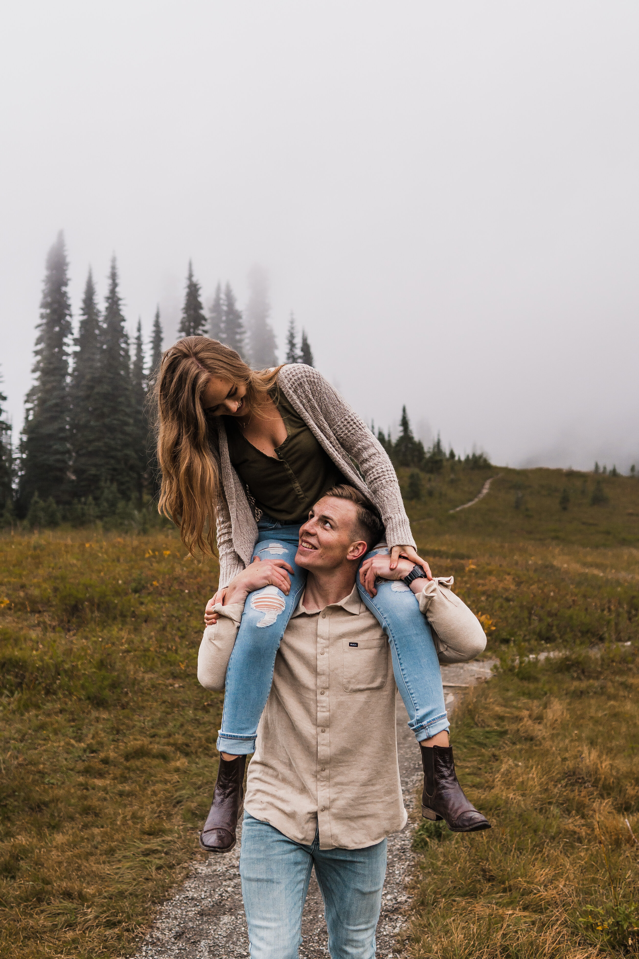 Mount Rainier Fall Engagement Session | Between the Pine Adventure Elopement Photography