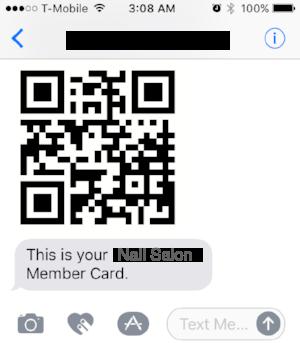 发送到客户短信的会员卡二维码