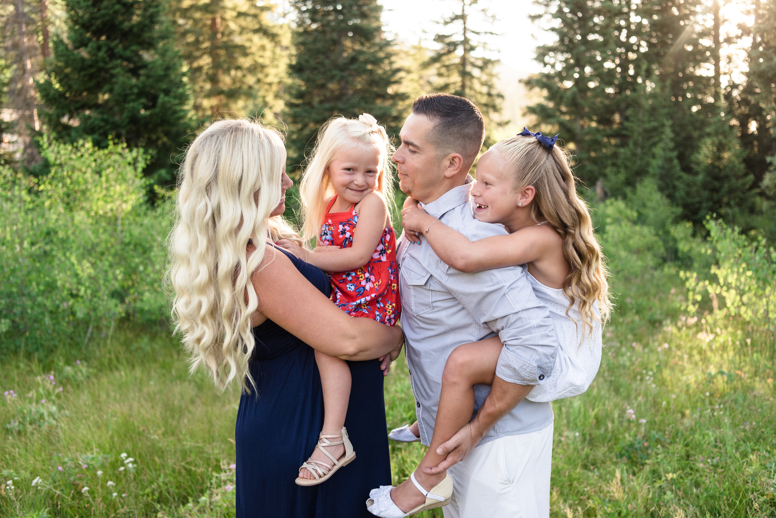 Family and Maternity pictures taken in Big Cottonwood Canyon in July.