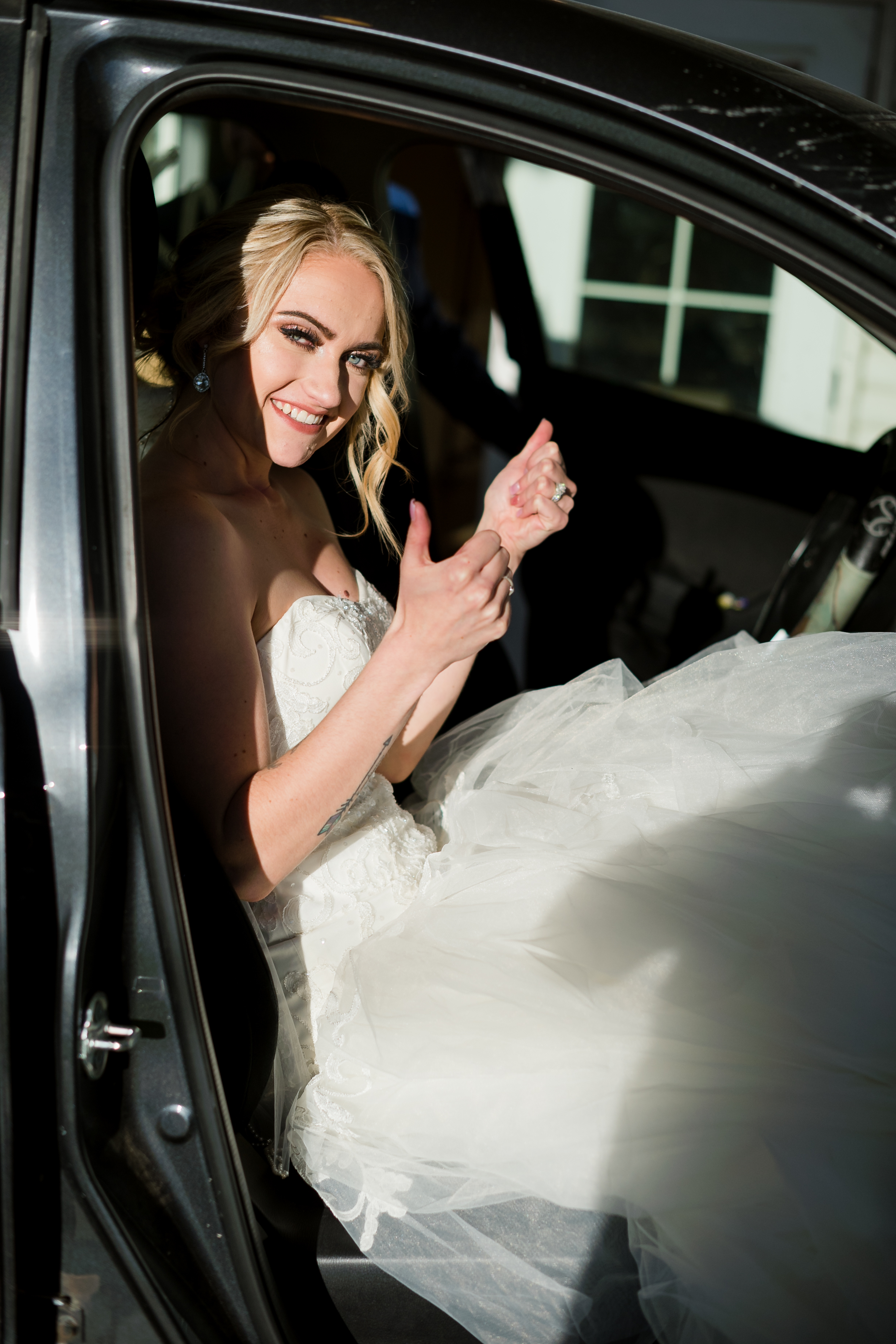 Squeezing into the get away car in a big dress? Psshhh, piece of CAKE!